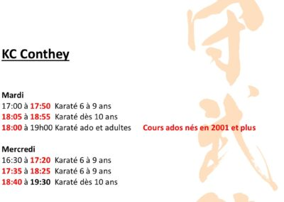 KC Conthey - Horaires mars 2021