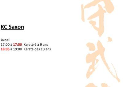 KC Saxon - Horaires mars 2021