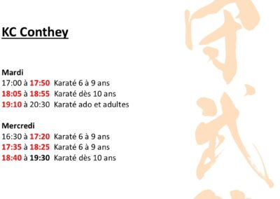 KC Conthey - Horaires avril 2021
