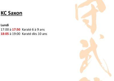 KC Saxon - Horaires avril 2021
